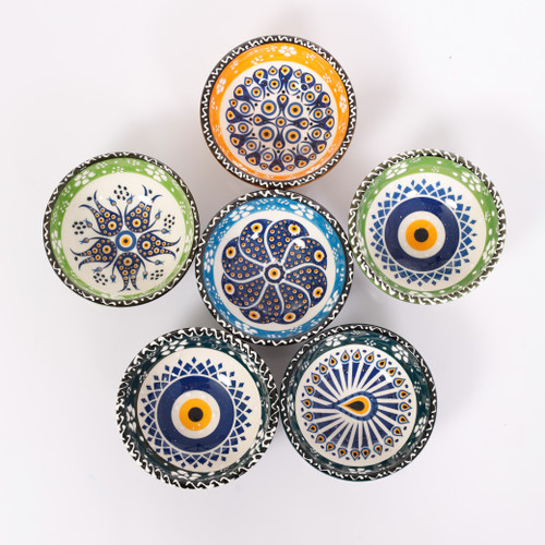 Evil eye ceramic dessert, tapas, snack bowls 007 - Set of 6