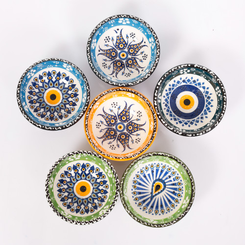 Evil eye ceramic dessert, tapas, snack bowls 008 - Set of 6