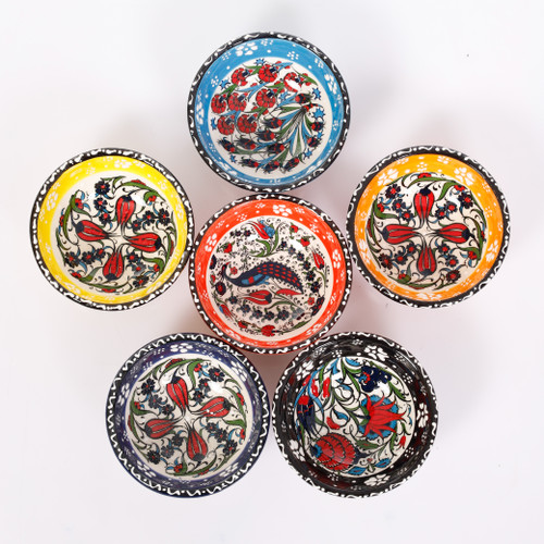 Floral ceramic dessert, tapas, snack bowls 022 - Set of 6