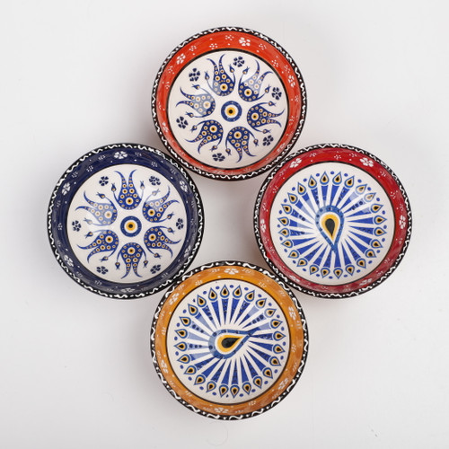 Evil eye medium ceramic dessert, tapas, snack bowls 001 - Set of 4