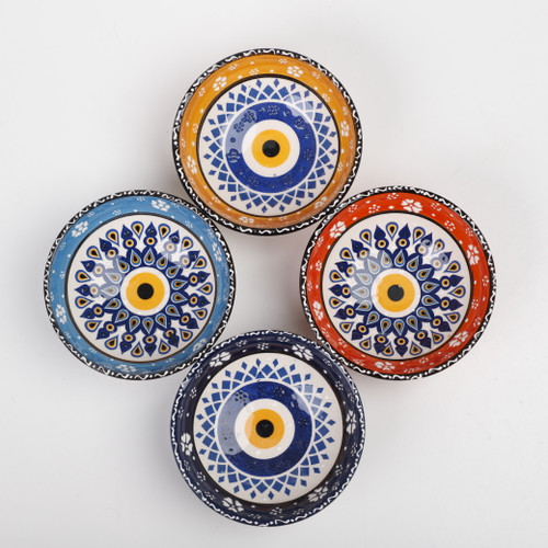 Evil eye medium ceramic dessert, tapas, snack bowls 002 - Set of 4