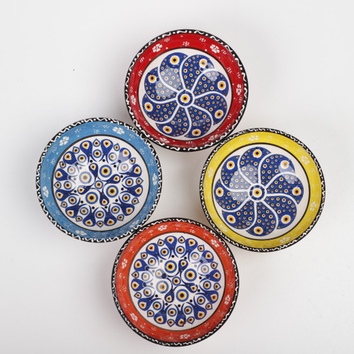 Evil eye medium ceramic dessert, tapas, snack bowls 003 - Set of 4
