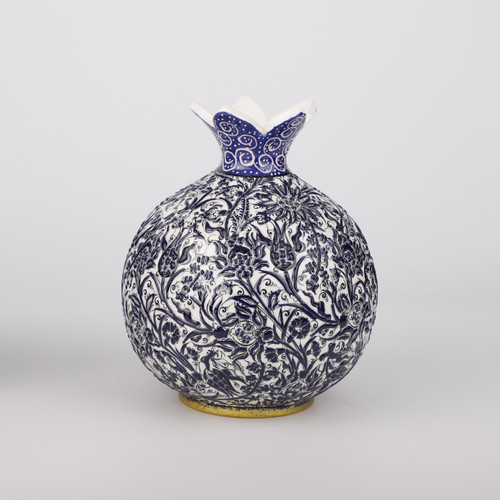Cobalt Ceramic Pomegranate Vase