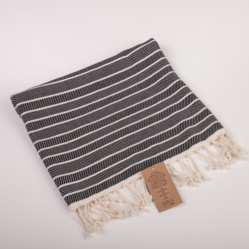 Carmen Black Kitchen Towel [Peshkir, Face & Hand Turkish Towel]