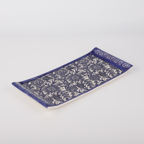 Cobalt Ceramic Tray / Serving Platter - 13.4""