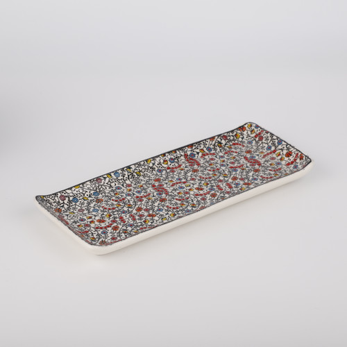 Floral Halic Ceramic Tray / Serving Platter - 11""