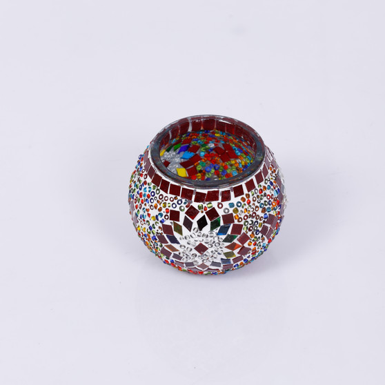 KAFTHAN Multicolor White Circle Mosaic Glass Candle Holder