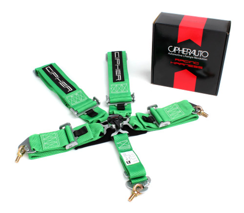 Cipher Green 5 Point 3 Inches Camlock Racing Harness - SFI 16.1