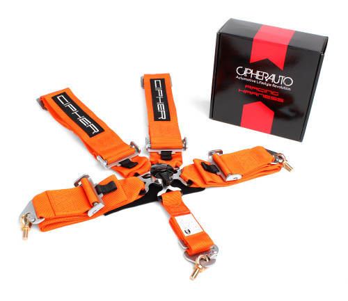 Cipher Orange 5 Point 3 Inches Camlock Racing Harness - SFI 16.1