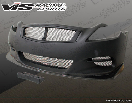 2008-2013 Infiniti G37 2dr Zelda Front Bumper with Carbon Lip. All Vis fiberglass Body Kits; bumpers, Lips side skirts, spoilers, and hoods are made out of a high quality fiberglass. All Body Kits come with wire mesh if applicable. Professional installation required. Picture shown is for illustration purpose only. Actual product may vary due to product enhancement. Modification of part is required to ensure proper fitment. Test fit all Body Kit parts before any modification or painting. Accessories like fog lights, driving lights, splitter, canards, add-on lip, intake scoops, or other enhancement products are not included unless specified in the product description. Intended for OFF ROAD use only.