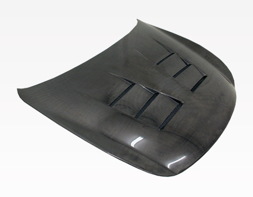 2008-2013 Infiniti G37 2Dr Terminator Carbon Fiber Hood. VIS Carbon Fiber Hoods and Trunks are made from 100% ISO-certified, Grade-A carbon fiber material.  All VIS Carbon Fiber Hoods and Trunks are manufactured using a two-part construction design.  The top layer is composed of carbon fiber material bonded to the hood surface with high-grade epoxy resin, andfinished with an ultra-clear (Poly Shield), UV-protective polyurethane coating for a high gloss finish.  A one-piece, smooth underside shell is fused to the top layer enhancing the product's structural integrity.  The edges are smoothed by hands to insure good quality finish all around. In 2014, we further improved on this manufacturing process by introducing the Vacuum Infusion Process (V.I.P.), which utilizes a single-mold vacuum to produce parts that are 10-20% lighter than before while improving durability. We are transitioning our full spectrum of carbon parts to use the VIP process so that our customers can enjoy these improved products without incurring a huge cost increase. All VIS Carbon Fiber Hoods and Trunks come with a VIS badge of authenticity. Please be sure to look for the badge when purchasing. Due to the unknown nature of the intended uses of these products, hood pins are required. These products are intended for off-road use only, unless your local and state laws state otherwise.