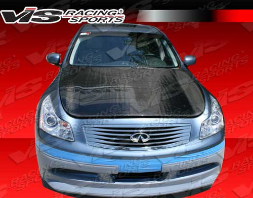 2009-2012 Infiniti G37 4Dr Oem Style Carbon Fiber Hood. VIS Carbon Fiber Hoods and Trunks are made from 100% ISO-certified, Grade-A carbon fiber material.  All VIS Carbon Fiber Hoods and Trunks are manufactured using a two-part construction design.  The top layer is composed of carbon fiber material bonded to the hood surface with high-grade epoxy resin, andfinished with an ultra-clear (Poly Shield), UV-protective polyurethane coating for a high gloss finish.  A one-piece, smooth underside shell is fused to the top layer enhancing the product's structural integrity.  The edges are smoothed by hands to insure good quality finish all around. In 2014, we further improved on this manufacturing process by introducing the Vacuum Infusion Process (V.I.P.), which utilizes a single-mold vacuum to produce parts that are 10-20% lighter than before while improving durability. We are transitioning our full spectrum of carbon parts to use the VIP process so that our customers can enjoy these improved products without incurring a huge cost increase. All VIS Carbon Fiber Hoods and Trunks come with a VIS badge of authenticity. Please be sure to look for the badge when purchasing. Due to the unknown nature of the intended uses of these products, hood pins are required. These products are intended for off-road use only, unless your local and state laws state otherwise.