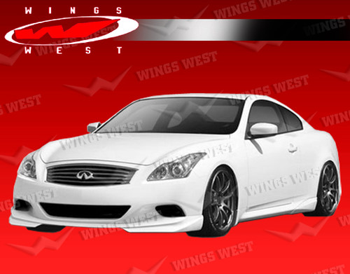 2008-2013 Infiniti G37 Sport model 2dr JPC Side Diffusers Polyurethane. All Vis fiberglass Body Kits; bumpers, Lips side skirts, spoilers, and hoods are made out of a high quality fiberglass. All Body Kits come with wire mesh if applicable. Professional installation required. Picture shown is for illustration purpose only. Actual product may vary due to product enhancement. Modification of part is required to ensure proper fitment. Test fit all Body Kit parts before any modification or painting. Accessories like fog lights, driving lights, splitter, canards, add-on lip, intake scoops, or other enhancement products are not included unless specified in the product description. Intended for OFF ROAD use only.