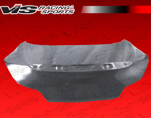 2008-2013 Infiniti G37 2Dr Oem Style Carbon Fiber Trunk. VIS Carbon Fiber Trunks are made from 100% ISO-certified, Grade-A carbon fiber material.  All VIS Carbon Fiber Trunks are manufactured using a two-part construction design.  The top layer is composed of carbon fiber material bonded to the trunk surface with high-grade epoxy resin, andfinished with an ultra-clear (Poly Shield), UV-protective polyurethane coating for a high gloss finish.  A one-piece, smooth underside shell is fused to the top layer enhancing the product's structural integrity.  The edges are smoothed by hands to insure good quality finish all around. In 2014, we further improved on this manufacturing process by introducing the Vacuum Infusion Process (V.I.P.), which utilizes a single-mold vacuum to produce parts that are 10-20% lighter than before while improving durability. We are transitioning our full spectrum of carbon parts to use the VIP process so that our customers can enjoy these improved products without incurring a huge cost increase. All VIS Carbon Fiber Hoods and Trunks come with a VIS badge of authenticity. Please be sure to look for the badge when purchasing. Due to the unknown nature of the intended uses of these products, hood pins are required. These products are intended for off-road use only, unless your local and state laws state otherwise.