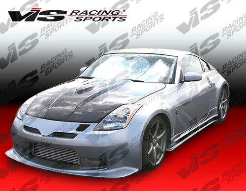 2003-2008 Nissan 350Z 2dr Tracer GT Front Bumper. All Vis fiberglass Body Kits; bumpers, Lips side skirts, spoilers, and hoods are made out of a high quality fiberglass. All Body Kits come with wire mesh if applicable. Professional installation required. Picture shown is for illustration purpose only. Actual product may vary due to product enhancement. Modification of part is required to ensure proper fitment. Test fit all Body Kit parts before any modification or painting. Accessories like fog lights, driving lights, splitter, canards, add-on lip, intake scoops, or other enhancement products are not included unless specified in the product description. Intended for OFF ROAD use only.