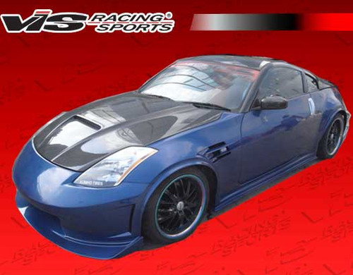 2003-2008 Nissan 350Z 2dr Astek Full Kit. All Vis fiberglass Body Kits; bumpers, Lips side skirts, spoilers, and hoods are made out of a high quality fiberglass. All Body Kits come with wire mesh if applicable. Professional installation required. Picture shown is for illustration purpose only. Actual product may vary due to product enhancement. Modification of part is required to ensure proper fitment. Test fit all Body Kit parts before any modification or painting. Accessories like fog lights, driving lights, splitter, canards, add-on lip, intake scoops, or other enhancement products are not included unless specified in the product description. Intended for OFF ROAD use only.