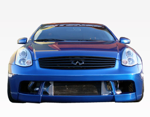 2003-2007 Infiniti G35 2dr DMX Front Bumper. All Vis fiberglass Body Kits; bumpers, Lips side skirts, spoilers, and hoods are made out of a high quality fiberglass. All Body Kits come with wire mesh if applicable. Professional installation required. Picture shown is for illustration purpose only. Actual product may vary due to product enhancement. Modification of part is required to ensure proper fitment. Test fit all Body Kit parts before any modification or painting. Accessories like fog lights, driving lights, splitter, canards, add-on lip, intake scoops, or other enhancement products are not included unless specified in the product description. Intended for OFF ROAD use only.