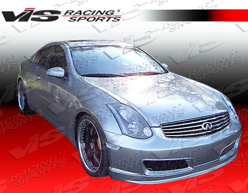 2003-2007 Infiniti G35 JDM 2dr Techno R Front Bumper. All Vis fiberglass Body Kits; bumpers, Lips side skirts, spoilers, and hoods are made out of a high quality fiberglass. All Body Kits come with wire mesh if applicable. Professional installation required. Picture shown is for illustration purpose only. Actual product may vary due to product enhancement. Modification of part is required to ensure proper fitment. Test fit all Body Kit parts before any modification or painting. Accessories like fog lights, driving lights, splitter, canards, add-on lip, intake scoops, or other enhancement products are not included unless specified in the product description. Intended for OFF ROAD use only.