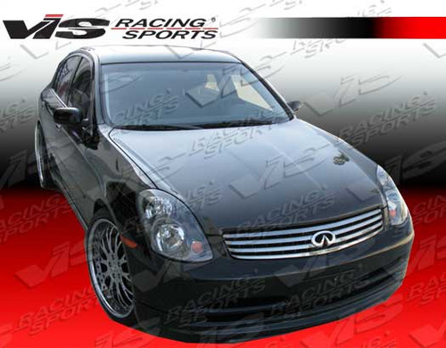 2003-2004 Infiniti G35 4Dr Oem Style Carbon Fiber Hood. VIS Carbon Fiber Hoods and Trunks are made from 100% ISO-certified, Grade-A carbon fiber material.  All VIS Carbon Fiber Hoods and Trunks are manufactured using a two-part construction design.  The top layer is composed of carbon fiber material bonded to the hood surface with high-grade epoxy resin, andfinished with an ultra-clear (Poly Shield), UV-protective polyurethane coating for a high gloss finish.  A one-piece, smooth underside shell is fused to the top layer enhancing the product's structural integrity.  The edges are smoothed by hands to insure good quality finish all around. In 2014, we further improved on this manufacturing process by introducing the Vacuum Infusion Process (V.I.P.), which utilizes a single-mold vacuum to produce parts that are 10-20% lighter than before while improving durability. We are transitioning our full spectrum of carbon parts to use the VIP process so that our customers can enjoy these improved products without incurring a huge cost increase. All VIS Carbon Fiber Hoods and Trunks come with a VIS badge of authenticity. Please be sure to look for the badge when purchasing. Due to the unknown nature of the intended uses of these products, hood pins are required. These products are intended for off-road use only, unless your local and state laws state otherwise.