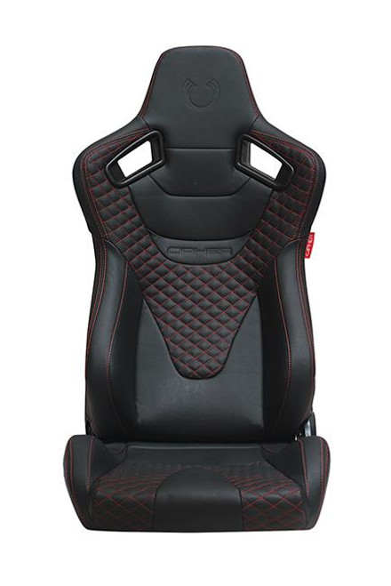 CPA2009 AR-9 Revo Racing Seats Black Leatherette Carbon Fiber with Red Diamond Stitching - Pair (NEW!)