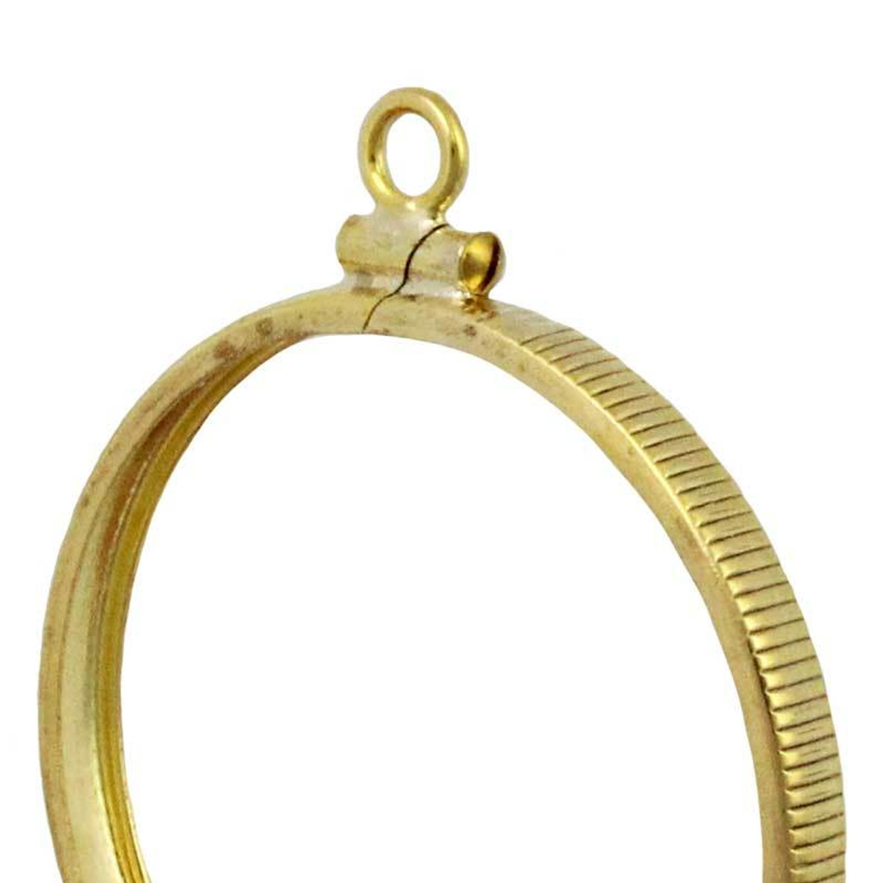 14K British 1 Lb One Pound Coin Bezel Holder CharmPendant Yellow Gold