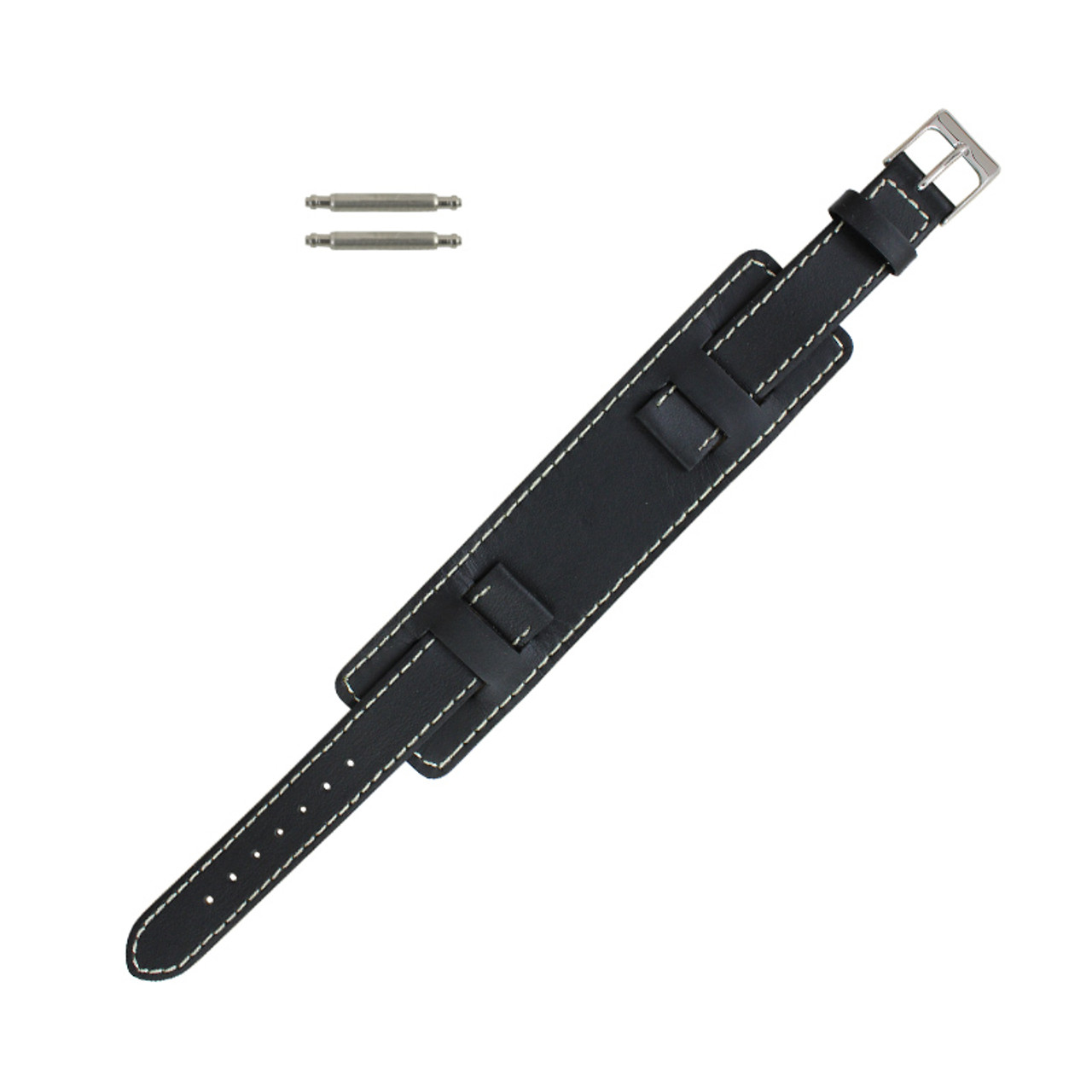 5769a3988373d1 Black Leather Wide Watch Band 14mm Stitched 6 3/4 Inch Length