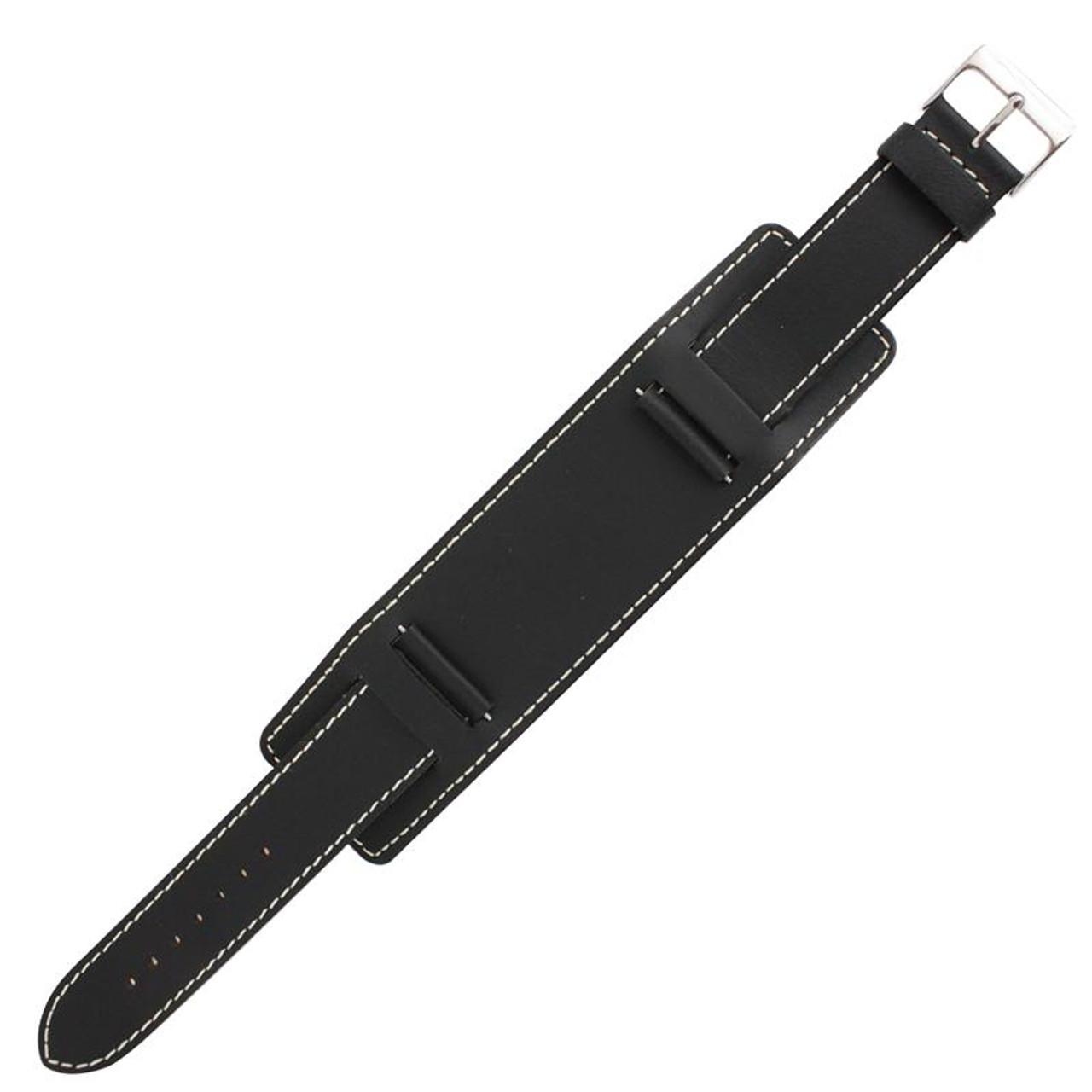 f39ff519a49 18mm Wide Watch band Black Leather Watch Cuff Strap 7 1 2 Inch Length