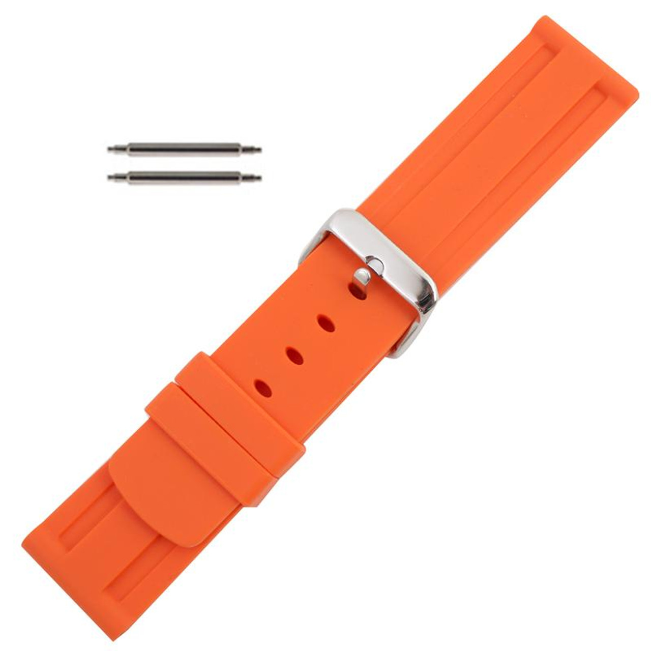 27de71be411 Silicone watch orange band rubber jelly strap jpg 800x800 Band 24mm