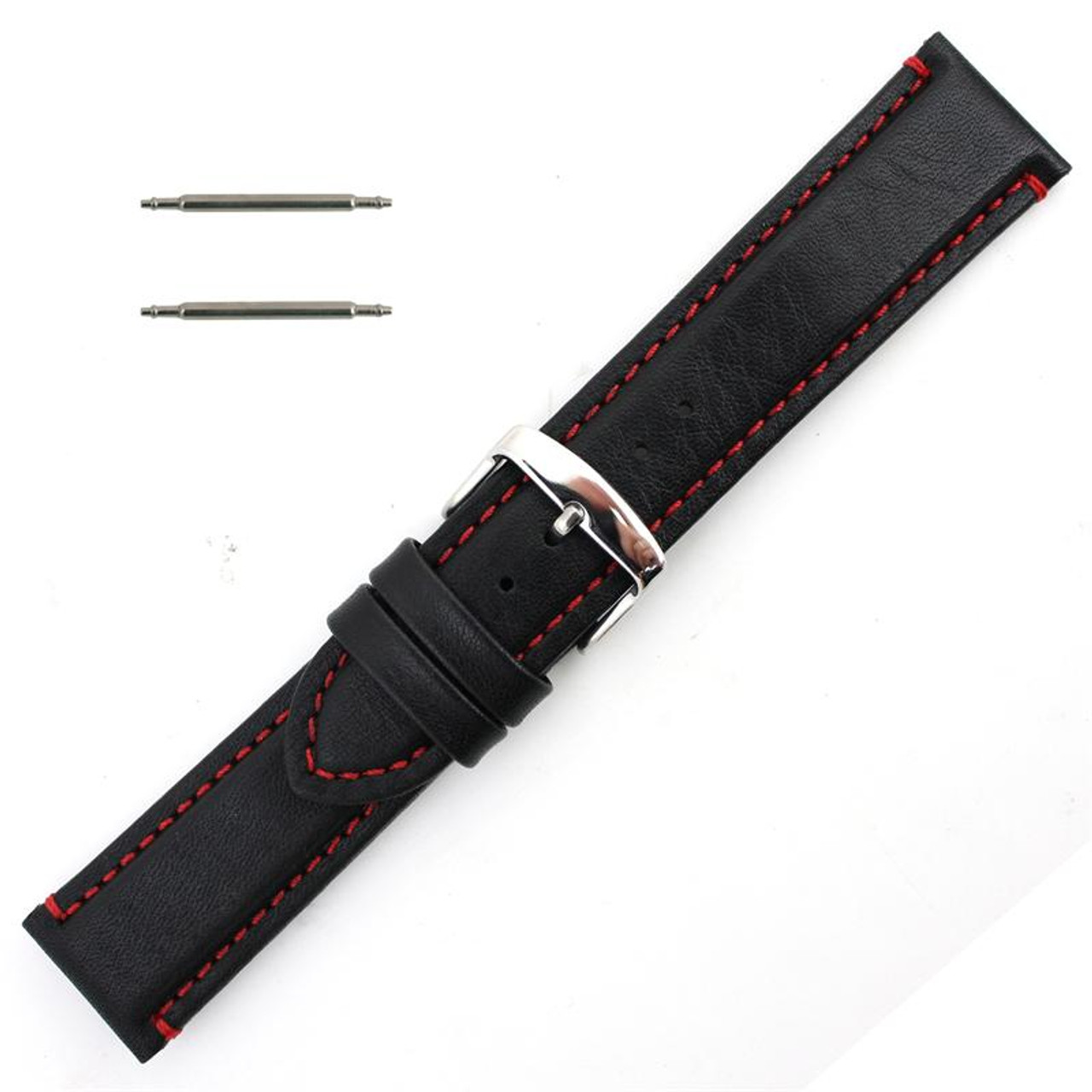 0eacd66e63e 22mm Waterproof Leather Watch Band Black 7 7 16 Inch Length