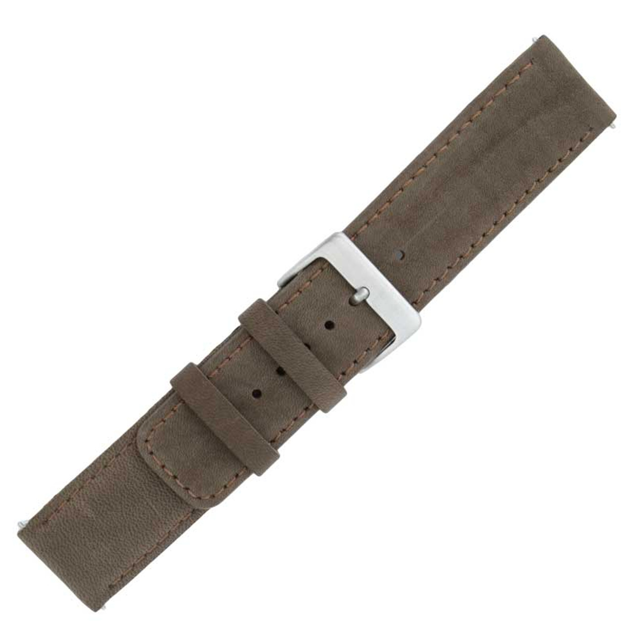ca34cc619 22MM Soft Leather Flat Brown Watch Band with Quick Release Spring Bars