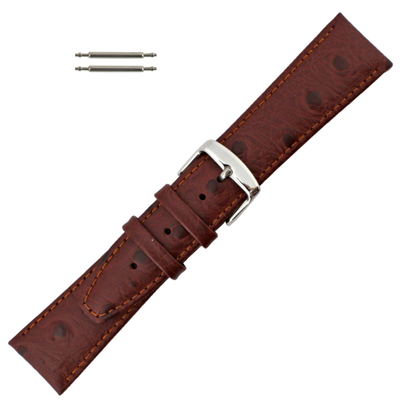 123e63102 Ostrich Grain 20mm Brown Leather Watch Strap