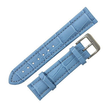 7afe6e096 ... Light Blue Leather Watch Band 20mm Padded Alligator Grain Stitched 7  5/16 Inch Length ...