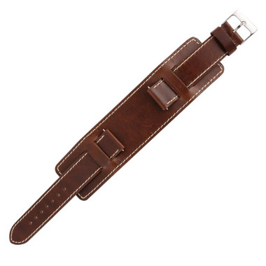 Brown Leather Wide Watch Band 14mm Stitched 6 3 4 Inch Length