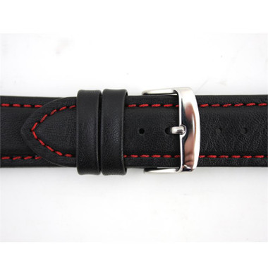 5bb0d1debaa ... Waterproof Leather Watch Band 22mm Black With Red Stitching 7 7 16 Inch  Length ...