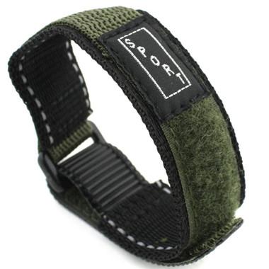 12d108fc4 Green Nylon Watch Strap Velcro Style 20mm Watch Band ...