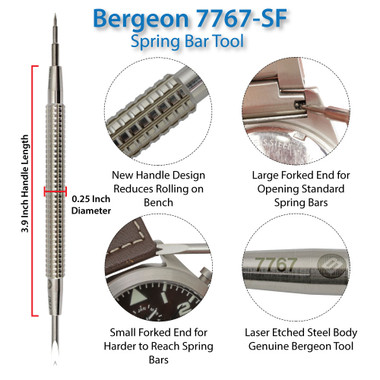 • • BERGEON Fork /& Pin End For 6767S /& 7767S Spring Bar Tool Genuine Bergeon • •