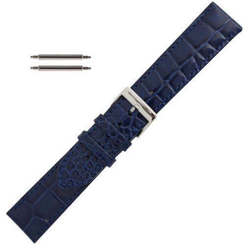 fde420edf 20mm Navy Blue Leather Watch Band 7 7/16 Inch Length