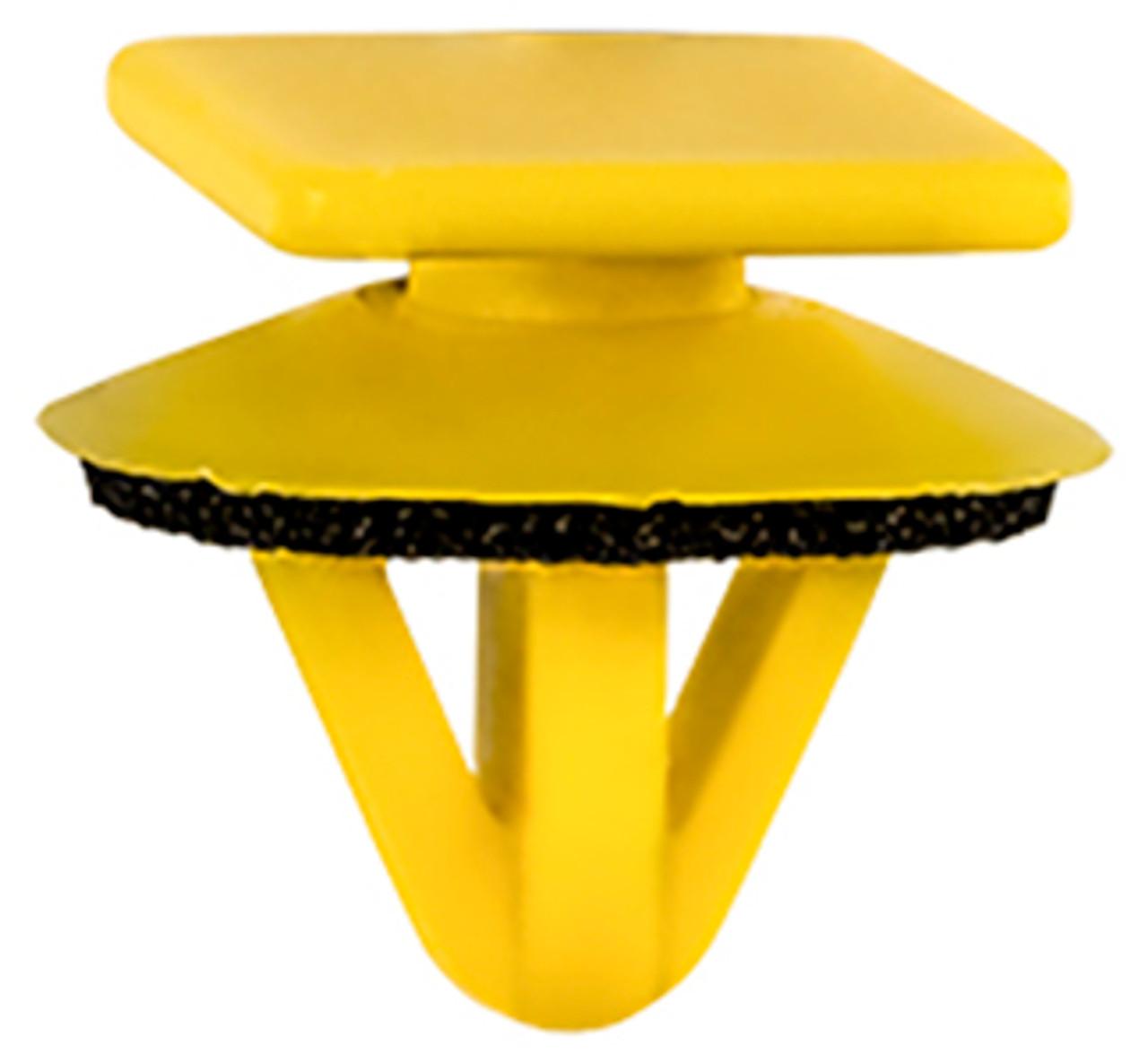 Hood Moulding Clip With Sealer Yellow Nylon Top Head Size: 12mm x 16mm Bottom Head Diameter: 16mm Stem Diameter: 9.5mm Stem Length: 10mm Hyundai Elantra 2006 - 01 OEM# 87703-H1000 25 Per Box