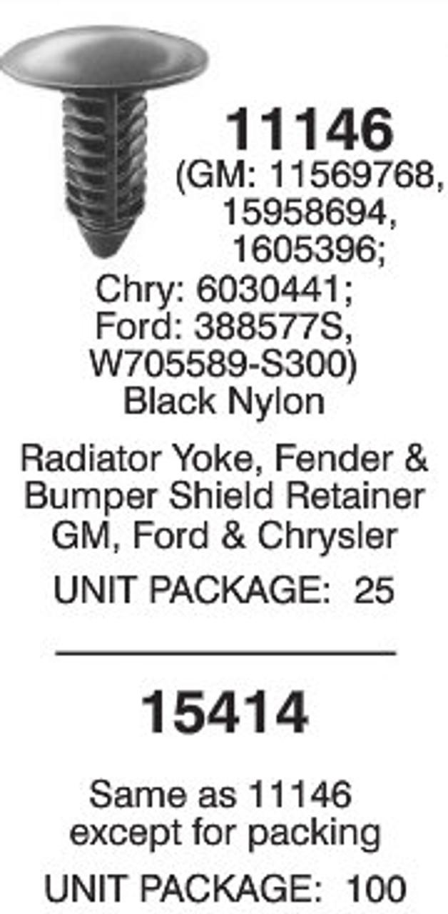 25 Radiator Yoke Clip Fender Bumper Shield Retainer For GM For Ford For Chrysler