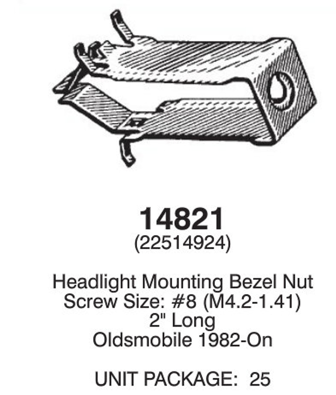 14821 Headlight Mounting Bezel Nut - Denver Auto Fasteners & Supply
