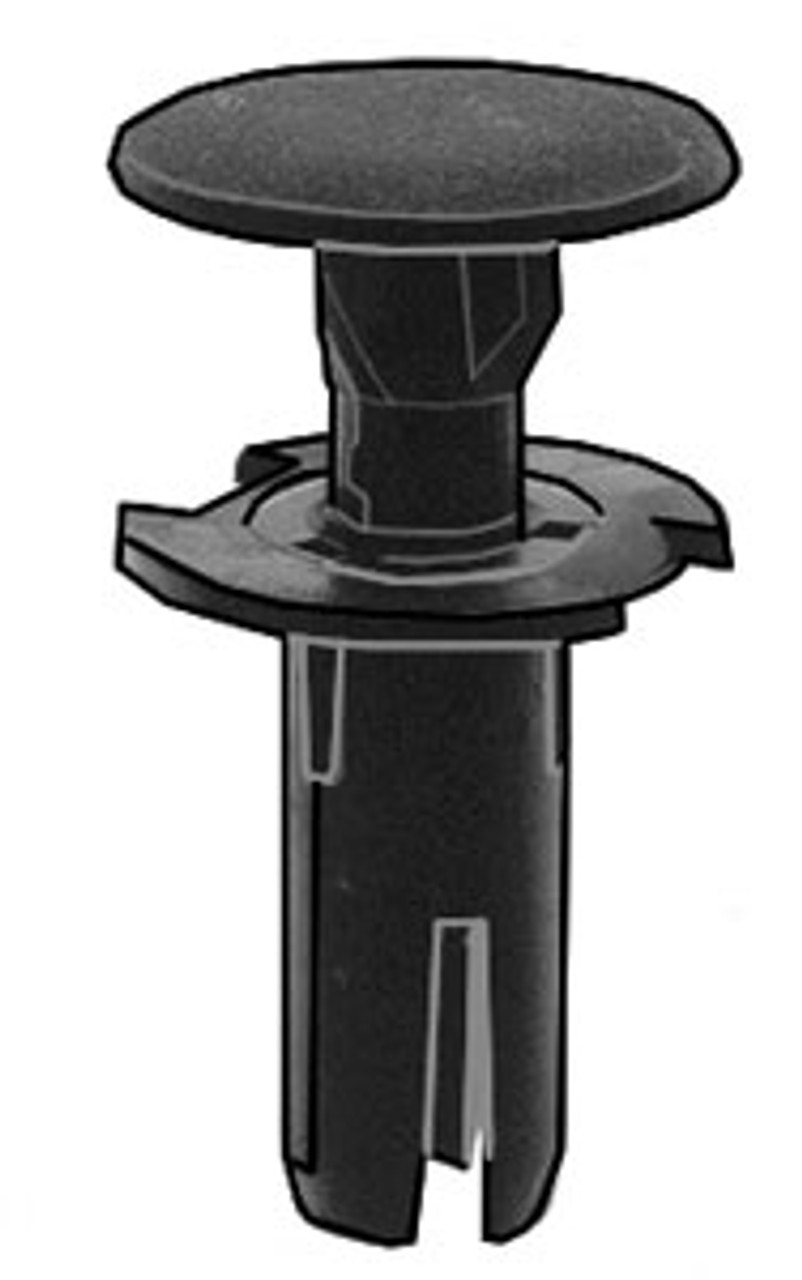 Push-Type Retainer Head Diameter: 15mm Stem Length: 17mm Fits Into 7mm Hole Toyota Camry, Tundra & 4-Runner 2002-On OEM# 90467-07188 Black Nylon 15 Per Box Click Next Image For Clip Detail