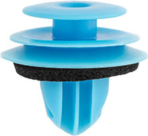 Door Trim Panel Retainer with Sealer Top Head Diameter: 13mm Middle Head Diameter: 16mm Bottom Head Diameter: 18mm Stem Diameter: 9.6mm Stem Length: 10mm Overall Length: 16.5mm Blue Nylon Lexus CT 200h, ES 300h, ES 350, GS 200t, GS 350, IS 200t, IS 250, IS 300, LC 500h, LS 460, NX 200t, NX 300h, RC 200t, RC 300, RC 350, RX 350 & RX 450h Toyota FJ Cruiser, Prius C & Prius V 2006-On Toyota OEM# 67771-26240 25 Per Box