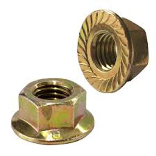Hex Flange Lock Nuts M6-1.0 14mm Flange Outer Diameter Hex: 10mm Zinc/Yellow 50 Per Box