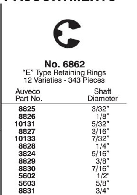 E-Type Retaining Rings Quick Select Kit
