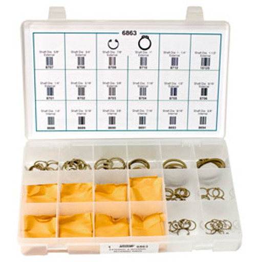 External & Internal Retaining Rings Quick Select Kit Zinc Plated 151 Pieces Click Next Image For Size Chart