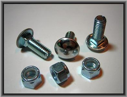 """7/16"""" - 14 x 1"""" Stainless Steel Cap Round Head Bumper Bolts with Lock Nuts Zinc 25 Per Box Click Next Image For Bumper Bolt spec Chart"""
