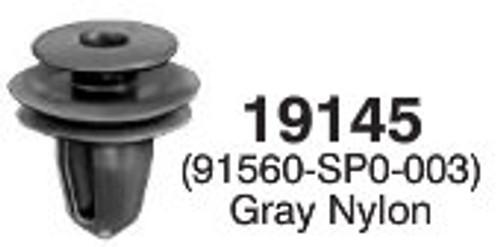 Front & Rear Door Trim Panel Retainer 1991-On Large Head Diameter: 17mm Stem Diameter: 9.5mm Honda Accord, Civic, Prelude, Odyssey & Del Sol Acura Integra & Legend OEM# 91560-SP0-003 Gray Nylon 25 Per Box Click Next Image For Clip Detail