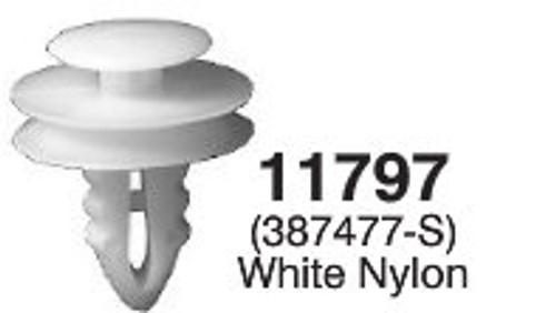 "Interior Trim Panel Ford 1977-On Head Diameter: 3/4"" Stem Length: 9/16 Fits 9/32"" Hole  OEM# 387477-S White Nylon 50 Per Box Click Next Image For Clip Details"