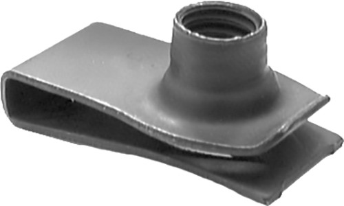 """Extruded U Nut GM, Ford 5/16""""-18 Hole Center To Edge: 27/32"""" Panel Range: .025"""" - .150"""" OEM# 1494258, 379831-S Black Phosphate 25 Per Box Click Next Image For Nut Detail"""