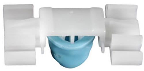 Moulding Clip Width: 22mm Length: 35mm Stem Length: 11mm BMW 1992 - 1999 OEM# 51-13-1-960-054 White Nylon With Blue Rubber Boot 25 Per Box Click Next Image For Clip Detail